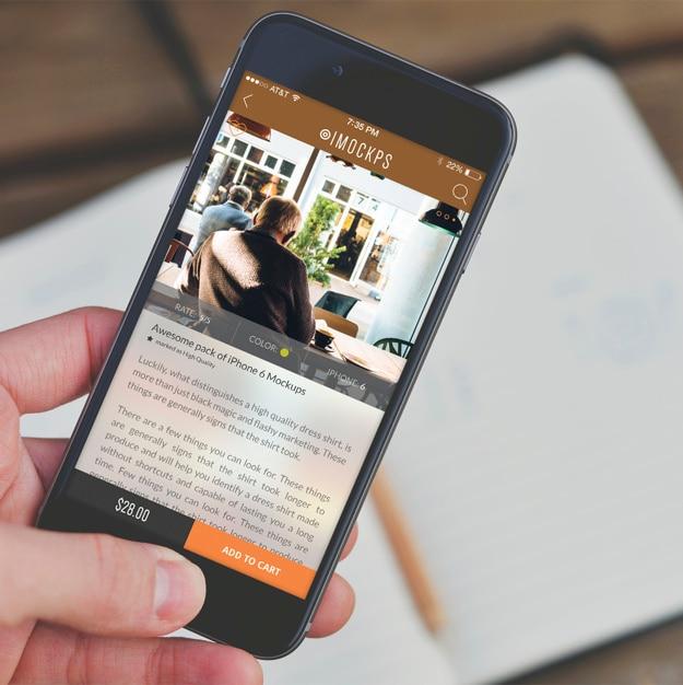 Telefono cellulare schermo mock up di progettazione Psd Gratuite