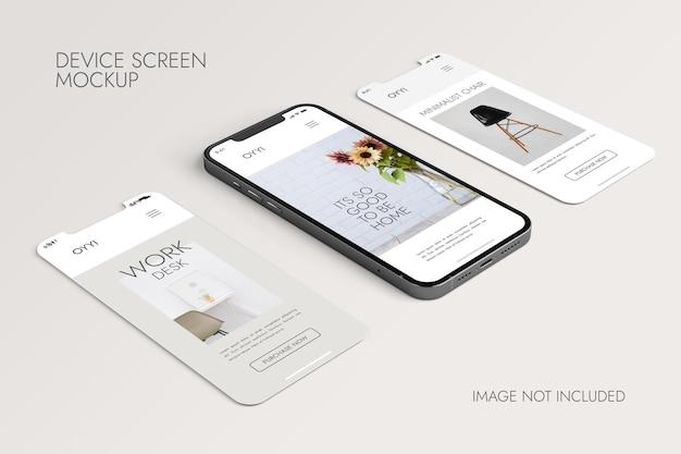 Teléfono y pantalla: maqueta de presentación de la aplicación ui ux PSD gratuito