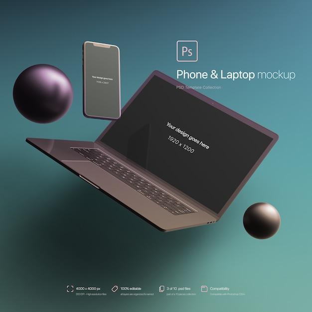Telefoon en laptop zwevend in een abstracte omgeving mockup Gratis Psd