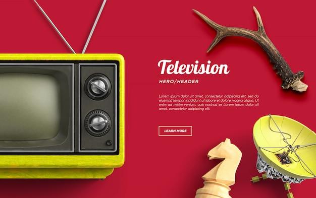 Television hero header escena personalizada PSD Premium