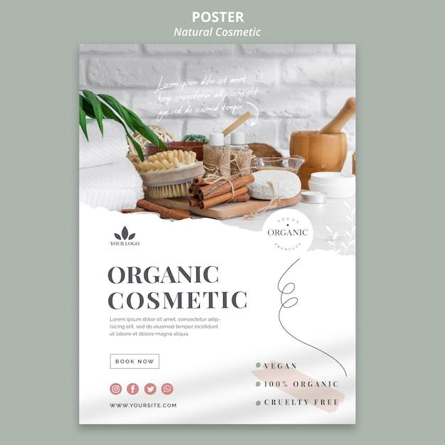 Tema de banner de cosmética natural PSD gratuito