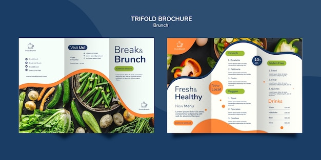 Tema de brunch por concepto de plantilla de folleto PSD gratuito