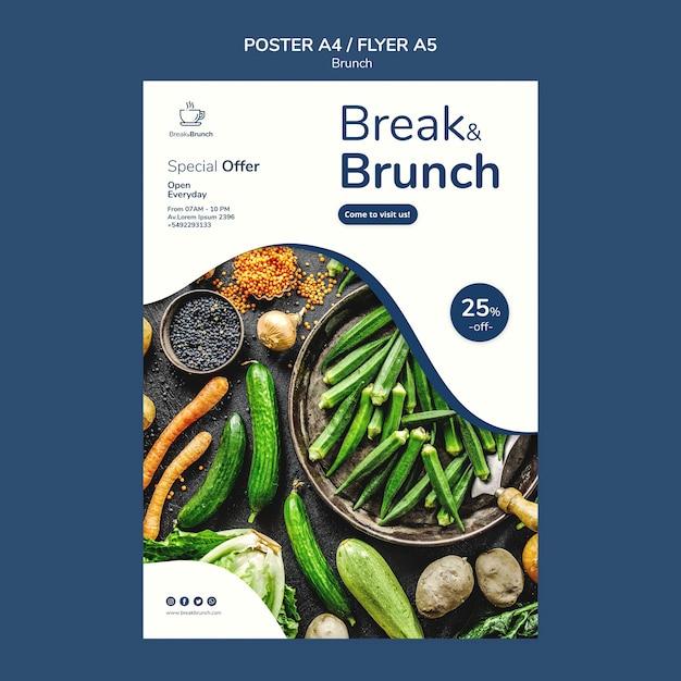 Tema del brunch per la progettazione di modelli di poster Psd Gratuite