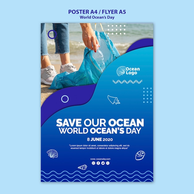 Tema del modello del manifesto di giornata mondiale degli oceani Psd Gratuite