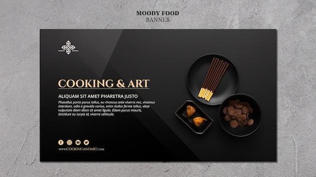 Tema di banner di cucina e arte Psd Gratuite