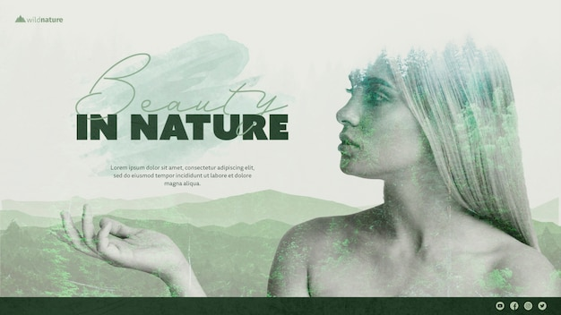 Tema de plantilla con diseño de naturaleza salvaje PSD gratuito