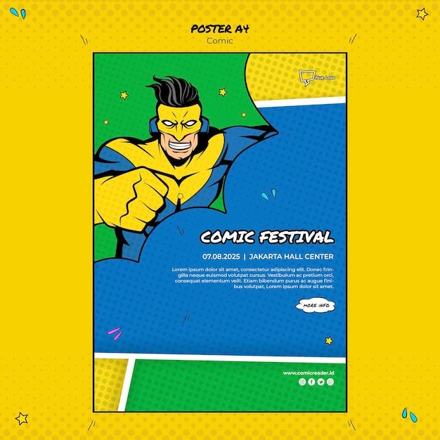 Tema de plantilla de póster cómico PSD gratuito