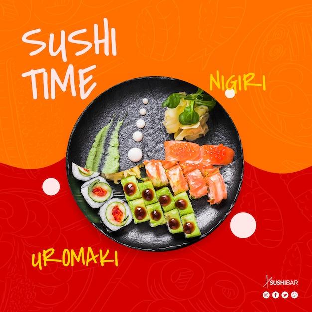 Tempo di sushi con ricetta nigiri e uramaki con pesce crudo per ristorante giapponese asiatico o sushibar Psd Gratuite