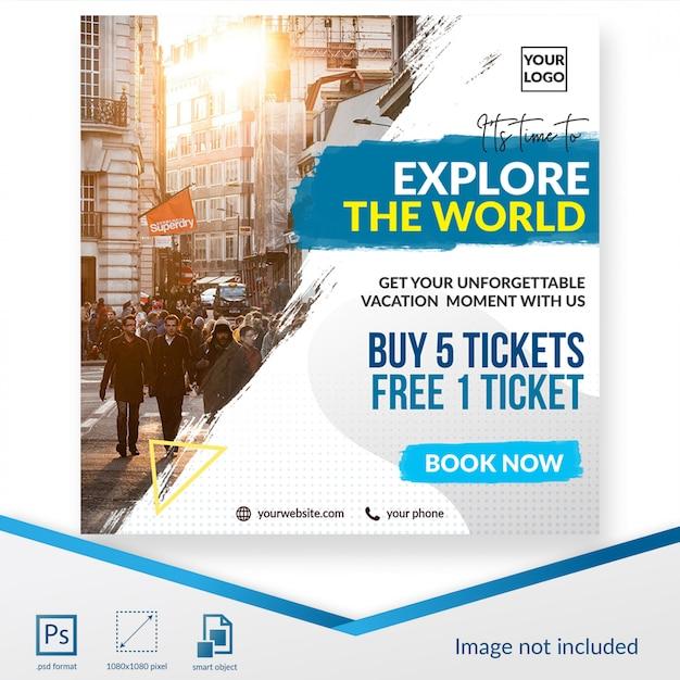 Tempo di viaggio social media post o modello di banner Psd Premium