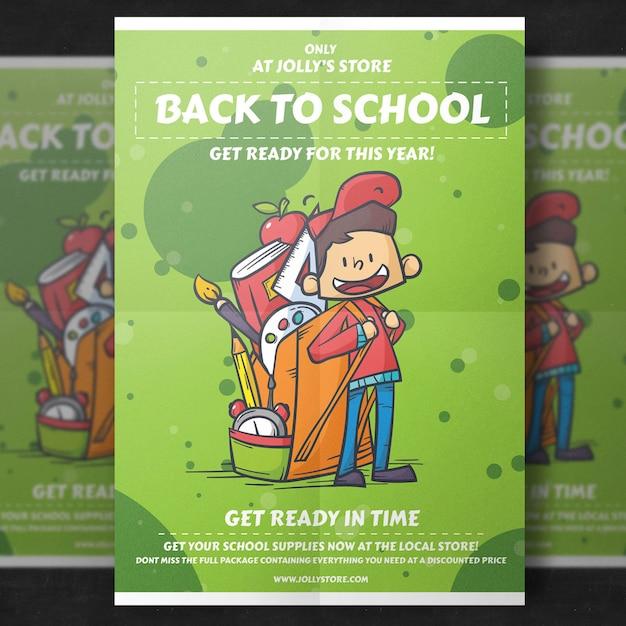 Terug naar school flyer-sjabloon Gratis Psd