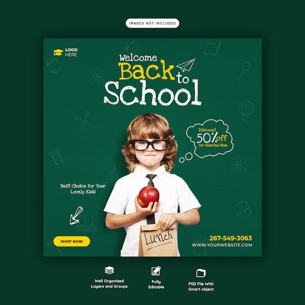 Terug naar school met kortingsaanbieding social media postsjabloon Premium Psd