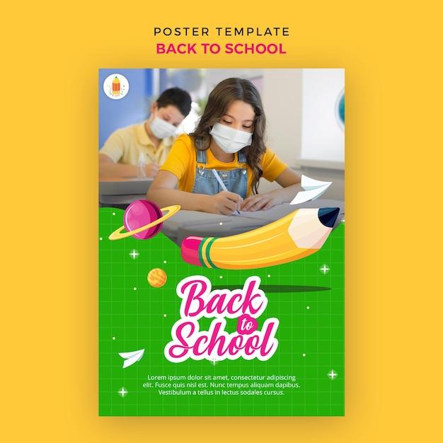 Terug naar school poster sjabloon Gratis Psd