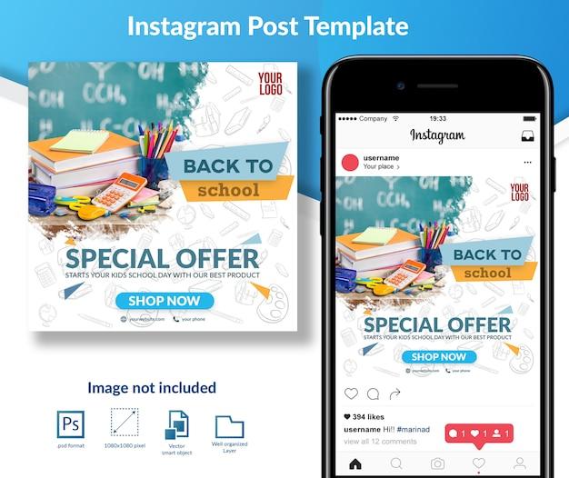 Terug naar school social media berichtsjabloon Premium Psd