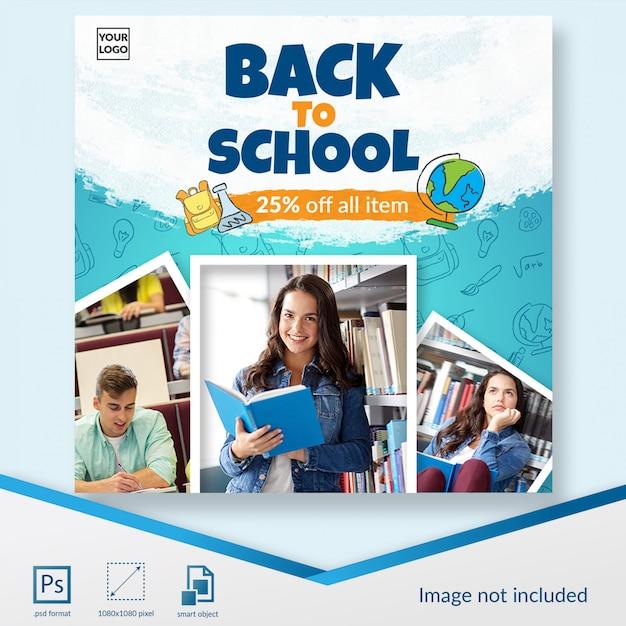 Terug naar school speciale aanbieding voor student social media postsjabloon Premium Psd