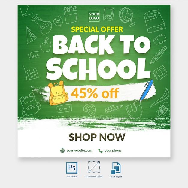 Terug naar school speciale korting aanbieding sociale media post sjabloon Premium Psd