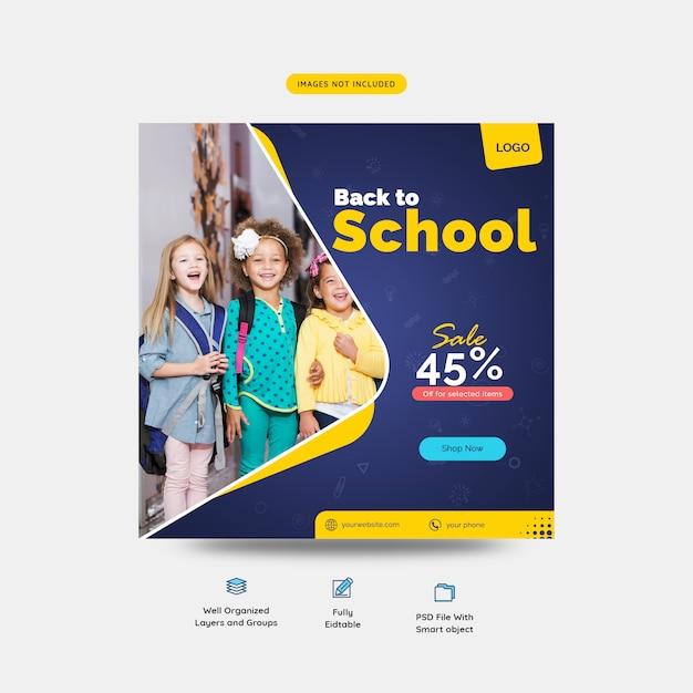 Terug naar school speciale verkoopaanbieding voor studenten sociale media postsjabloon Premium Psd