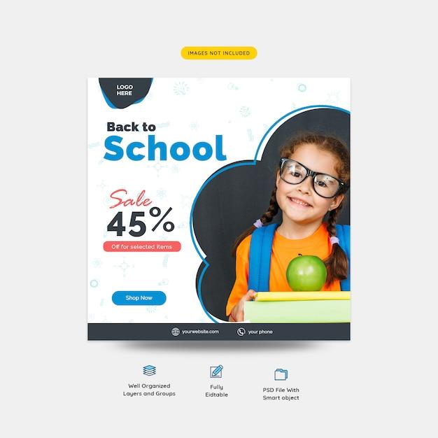 Terug naar school verkoop aanbod sociale media post-sjabloon Premium Psd