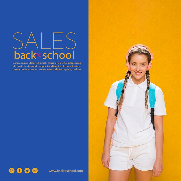 Terug naar school verkoop poster met tienermeisje Gratis Psd