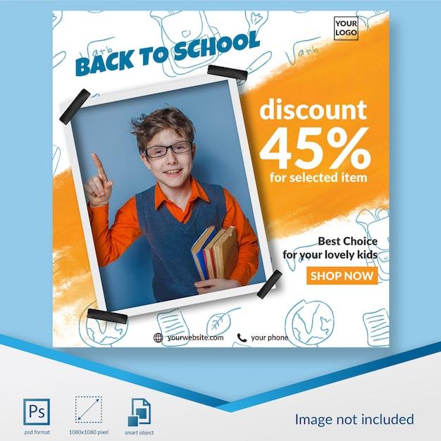 Terug naar schoolbanner met de social media postmalplaatje van de aanbiedingskorting Premium Psd