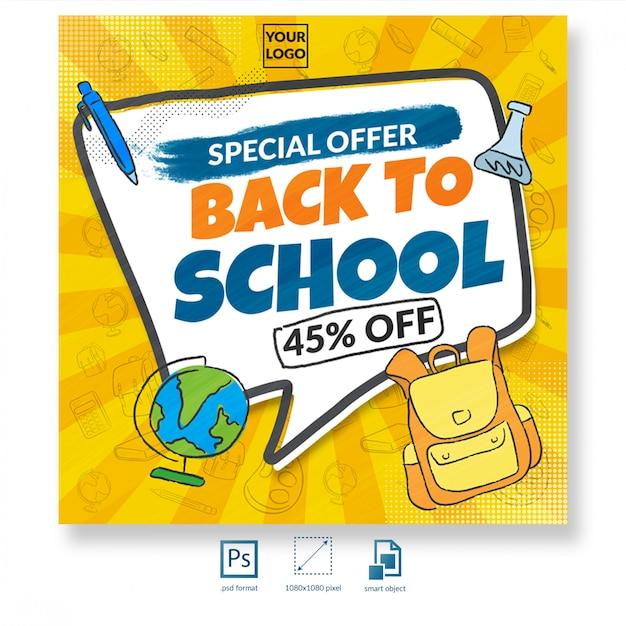 Terug naar schoolkorting verkoop sociale media bericht of sjabloon voor spandoek Premium Psd