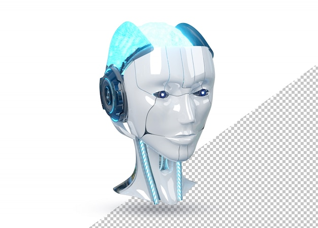 Testa femminile bianca e blu del robot del cyborg isolata Psd Premium