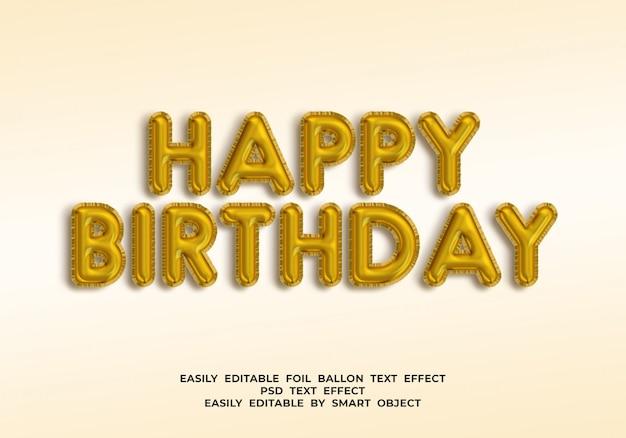 Testo di buon compleanno in stile palloncino 3d Psd Premium