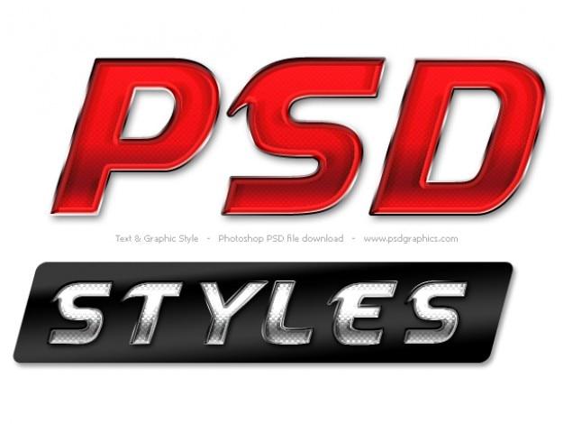 Testo lucido e stili grafici per photoshop Psd Gratuite