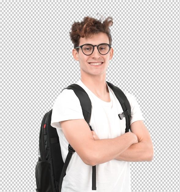 Tevreden jonge student poseren Premium Psd