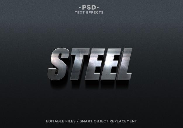 Texto editable de 3d steel metal 2 effect PSD Premium