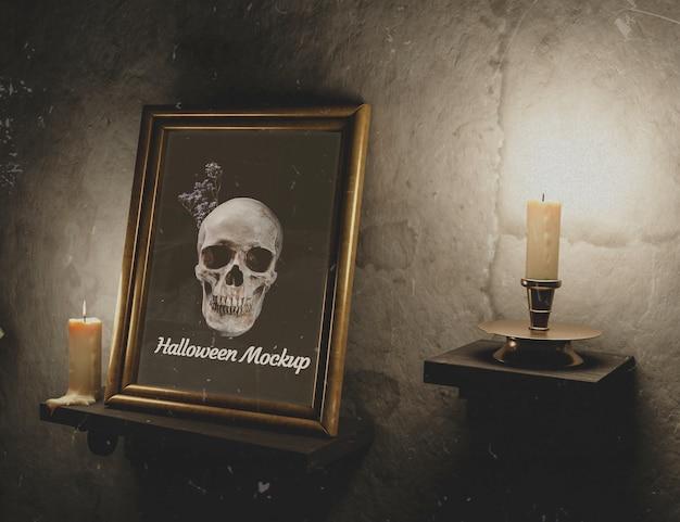 Textura de pared vintage con velas y marco PSD gratuito
