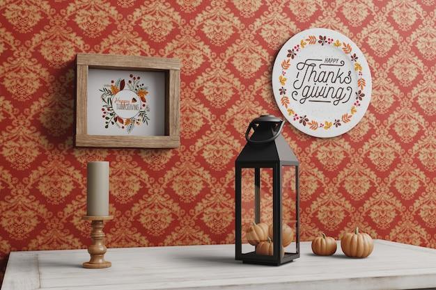 Thanksgiving bericht op plaat en frame Gratis Psd