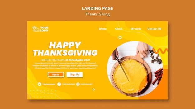 Thanksgiving concept bestemmingspagina sjabloon Gratis Psd