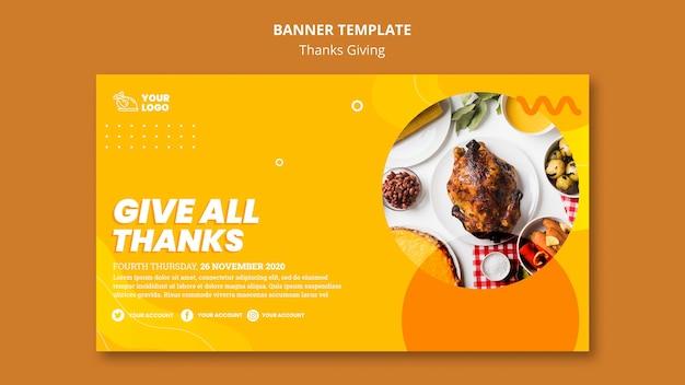 Thanksgiving concept sjabloon voor spandoek Gratis Psd