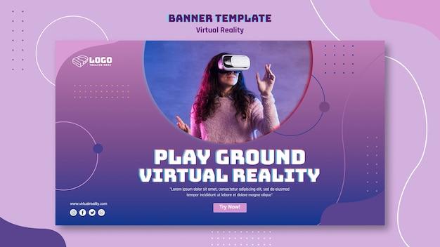 Thema van de banner van de virtuele realiteit banner Gratis Psd