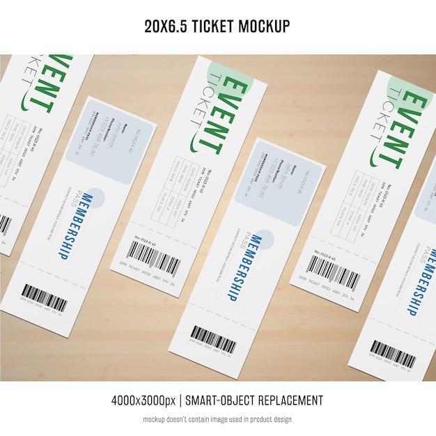 Ticket mockup Gratis Psd