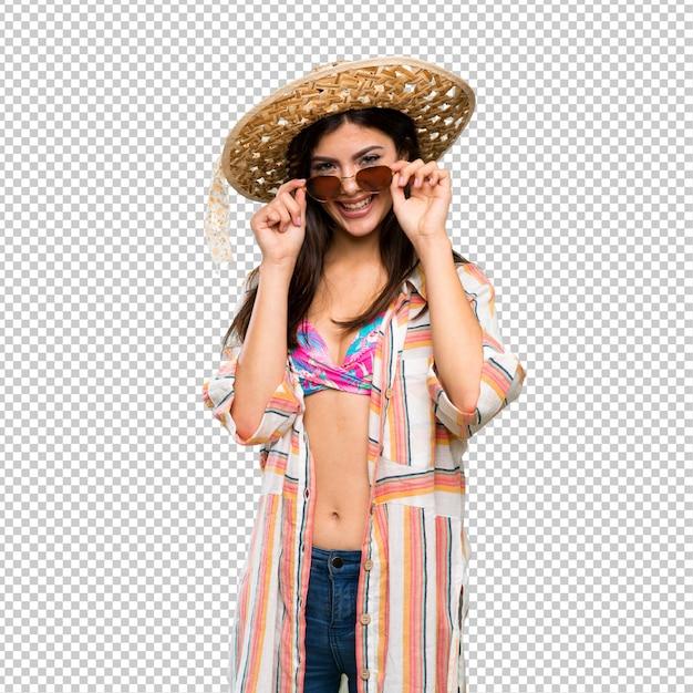 Tiener meisje op zomervakantie met een bril en verrast Premium Psd