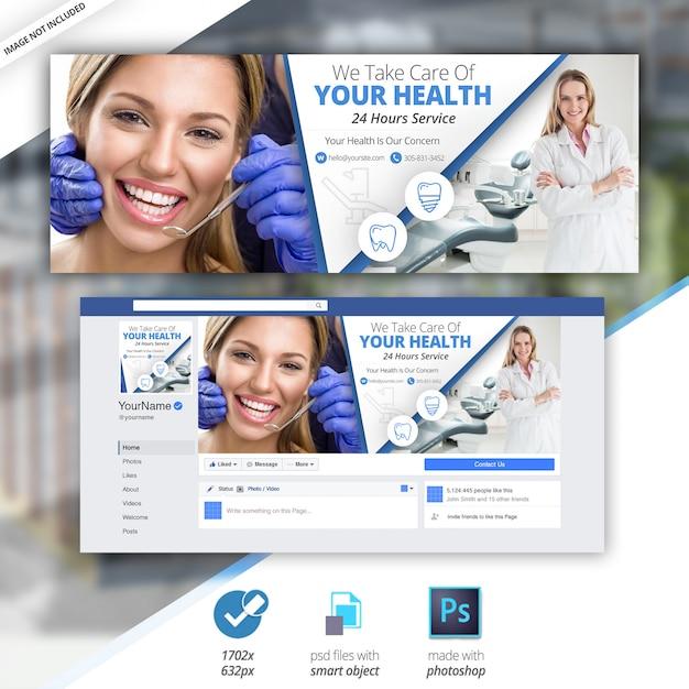 Timeline medica dentista facebook timeline cover premium Psd Premium