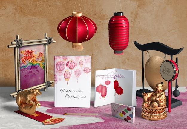 Toebehoren en notitieboekje van het vooraanzicht het chinese nieuwe jaar Gratis Psd