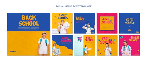 Torna a scuola modello di social media Psd Gratuite