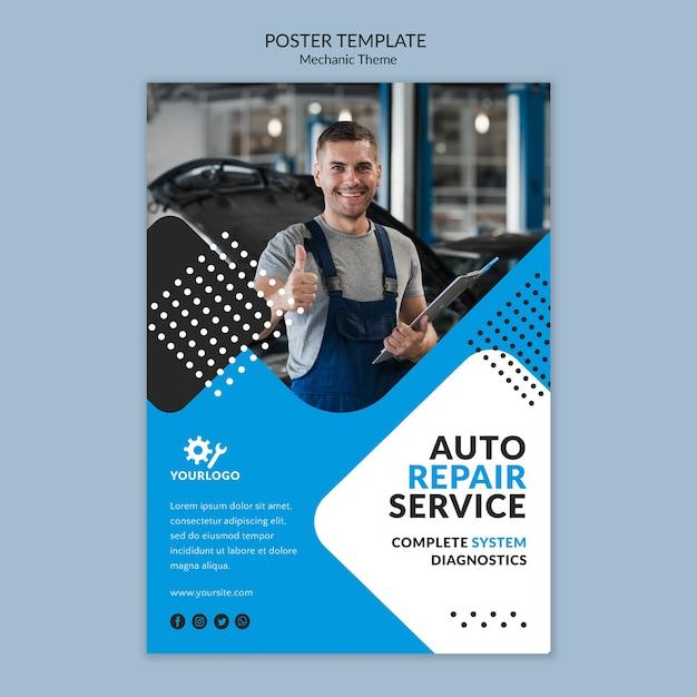 Trabajador feliz como plantilla de póster mecánico PSD gratuito