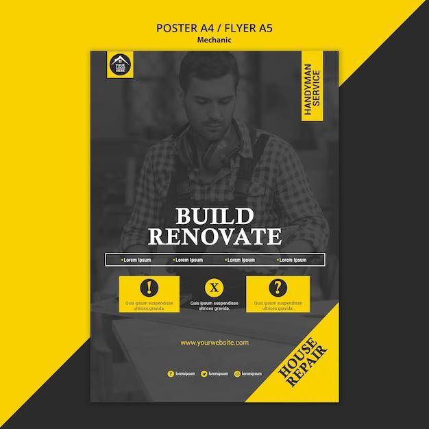 Trabajador manual de carpintero construir y renovar póster PSD gratuito