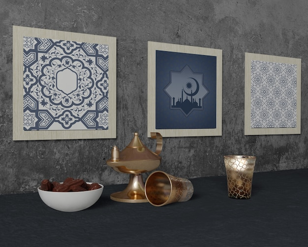 Traditionele ramadan regeling met frames mock-up Gratis Psd