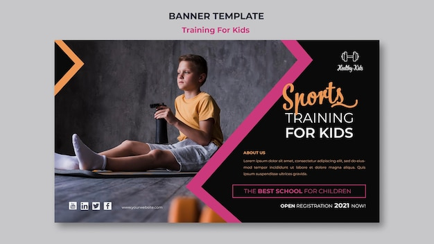 Training voor kinderen banner Gratis Psd
