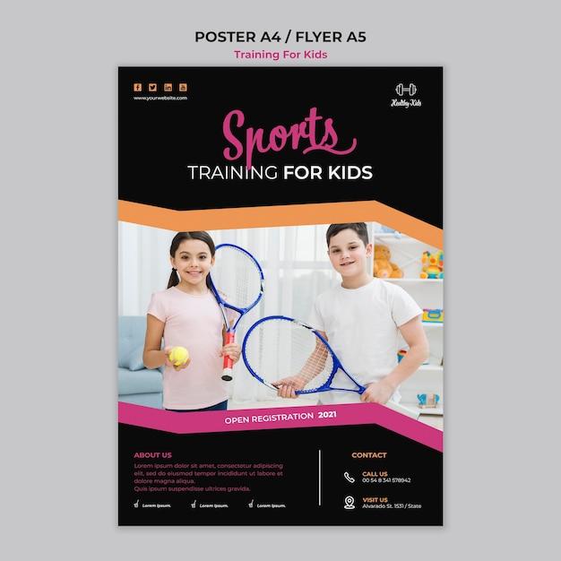 Training voor kinderen poster sjabloonthema Gratis Psd