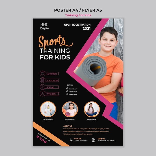 Training voor kinderen poster-stijl Gratis Psd