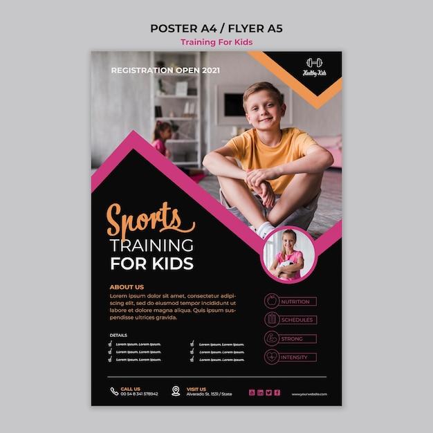 Training voor kinderen-poster Gratis Psd