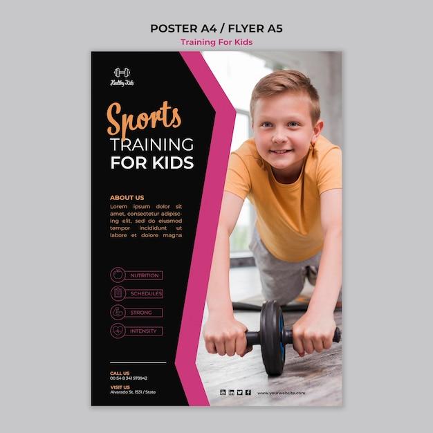 Training voor kinderen posterontwerp Gratis Psd