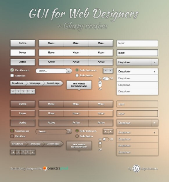Transparant web elementen psd materiaal Gratis Psd