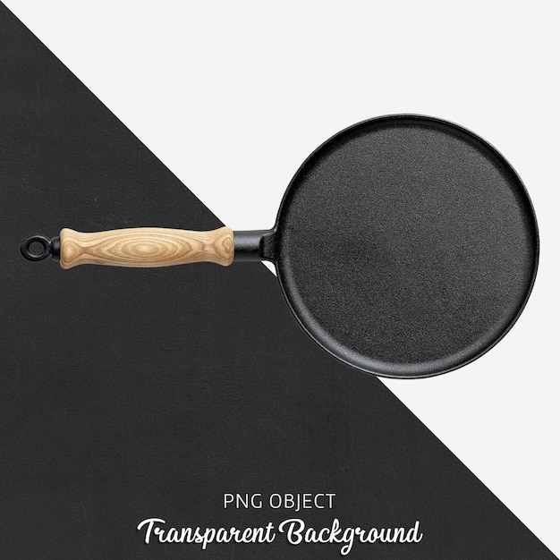 Transparante gietijzeren pan met houten handvat Premium Psd