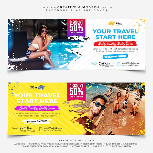 Travel facebook cover banners PSD Premium
